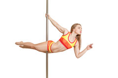 Sexy professional young pole dance girl Royalty Free Stock Photos