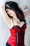 Sexy punk girl in red lingerie Stock Photography