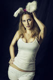 rabbit or bunny - woman in costume Royalty Free Stock Images