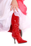 Sexy red high heel boots Royalty Free Stock Photo