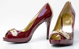Sexy red high heels. A pair of women's high heel shoes Royalty Free Stock Images