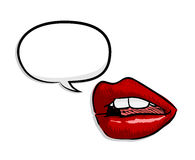 Sexy Red Lips with Blank Narration Speech Bubble Royalty Free Stock Images