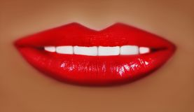 Sexy red lips close-up. lip makeup with graduation Stock Photography