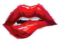 Sexy red lips. Sexy mouth with biting lips Royalty Free Stock Photography
