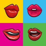 Sexy  red lips with teeth pop art set backgrounds. Vector illustration Royalty Free Stock Photo