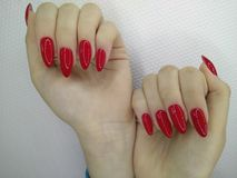 sexy red manicure stock photography