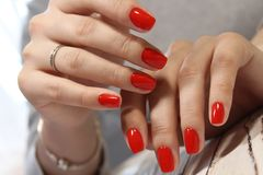 red manicure royalty free stock images