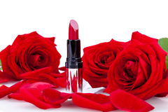 red or scarlet lipstick with roses Royalty Free Stock Photos