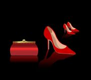 Sexy red shoes and bag. Sexy red shoes and woman bag, vector sybmol, icons Stock Photo