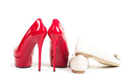 Sexy red shoes isolated Stock Photography