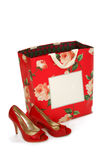 Sexy Red Shoes and Shopping Bag Royalty Free Stock Photography