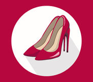 Sexy red stiletto shoes for lady vector template icon summer style Royalty Free Stock Image