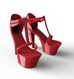 Sexy red womens plateau shoe isolated on white Royalty Free Stock Photos