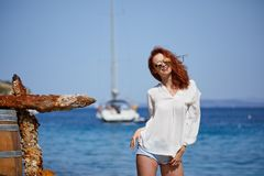 Sexy redhead girl on vacation in croatia Royalty Free Stock Photography