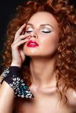 Sexy redhead model with perfect clean skin Stock Images