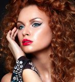 Sexy redhead model with perfect clean skin Royalty Free Stock Images