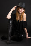 Sexy redhead woman in hat Royalty Free Stock Image
