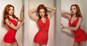 Sexy redhead woman posing in a red dress Stock Images
