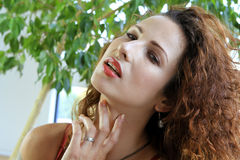 Sexy redhead woman. Provocative red-haired woman in a seductive pose Stock Images