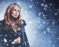 A sexy redhead woman on a snowy background Stock Photography