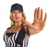 Sexy Referee Blows Whistle Stock Image