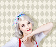 retro blond hair pinup girl. Classic make-up Royalty Free Stock Image