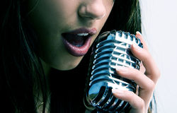 Sexy retro microphone Royalty Free Stock Images