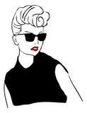 Retro woman. Fashion tattoo lady in sunglasses royalty free illustration