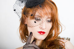 Sexy retro woman with black vintage veil Royalty Free Stock Image