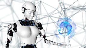Sexy robot androïde vrouw die een digitale aarde houden Cyborg toekomstige technologie, kunstmatige intelligentie, computer stock illustratie