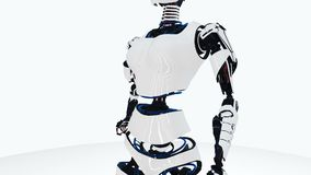 robot android woman walking. Sci-fi stylish robotic girl. Cute robot woman. CG animation.
