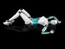 Sexy robot woman posing on the floor nr 1. Royalty Free Stock Images
