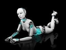 Sexy robot woman posing on the floor nr 2. Royalty Free Stock Image