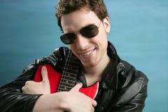 rock man sunglasses leather  jacket Stock Photos