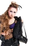 Sexy rocker girl  wiht cool makeup Royalty Free Stock Image