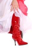 Sexy rode hoge hiellaarzen Royalty-vrije Stock Foto