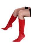 Sexy rode hoge hiellaarzen Royalty-vrije Stock Foto's