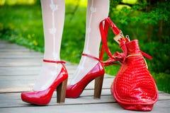 Sexy rode schoenen Royalty-vrije Stock Afbeeldingen