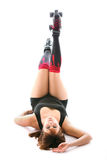 Sexy roller derby girl. Sexy roller derby player on white background Stock Photo