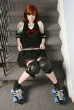 roller derby girl on the stairs stock images