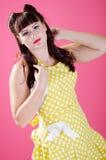Sexy Roodharige pinup meisje Royalty-vrije Stock Foto's