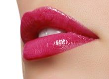 Sexy rosa nasses Lippenmake-up Nahaufnahme von schönen vollen Lippen stockbilder