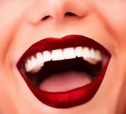 Sexy rote Lippen Stockfotografie