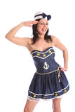Sexy sailor fun laughing girl in fancy dress Stock Image