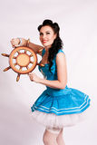 sailor pin up girl with steering wheel. Stock Images