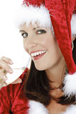 Beautiful and sexy Caucasian woman dresses as a sexy santa Stock Photography