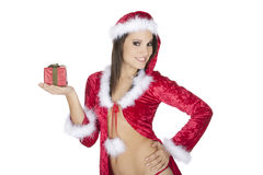 Beautiful and sexy Caucasian woman dresses as a sexy santa Stock Images