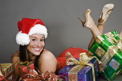 Beautiful and sexy Caucasian woman dresses as a sexy santa Royalty Free Stock Image