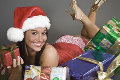 Beautiful and sexy Caucasian woman dresses as a sexy santa Royalty Free Stock Photography