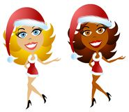 Sexy Santa Christmas Helpers 2. A clip art illustration of a pair of happy, smiling women wearing santa hats and short-short little sexy red holiday dresses Royalty Free Stock Photography